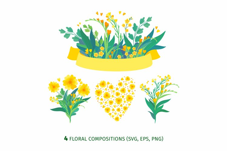 Yellow Flowers Vector Clipart example 2