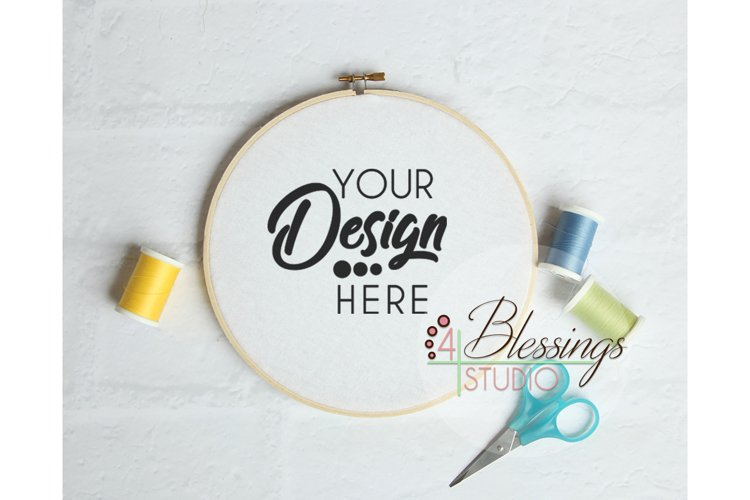 Embroidery Hoop Mockup Sewing Hoop Template Photo example image 1
