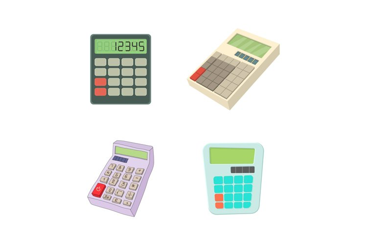 Calculator icon set, cartoon style example image 1