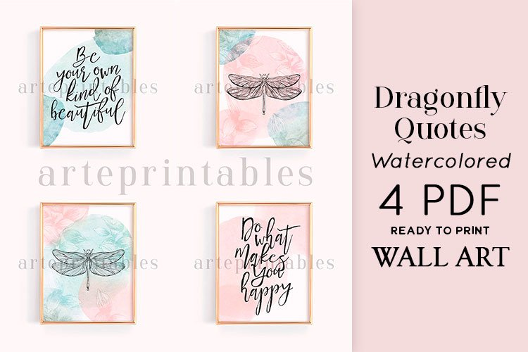 Dragonfly Quotes Watercolored Wall Art example image 1