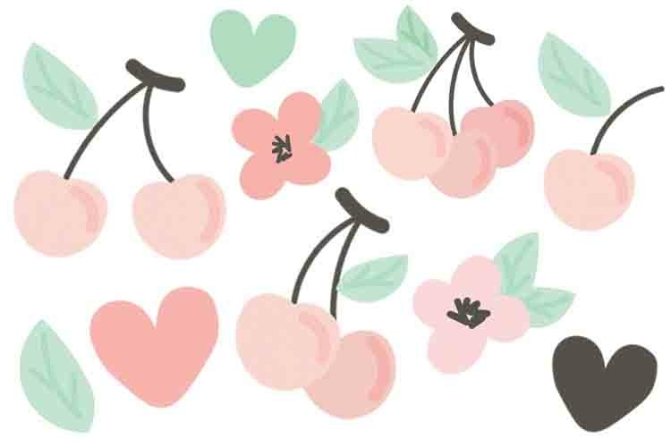 Cute Cherry Clipart Vector example image 1