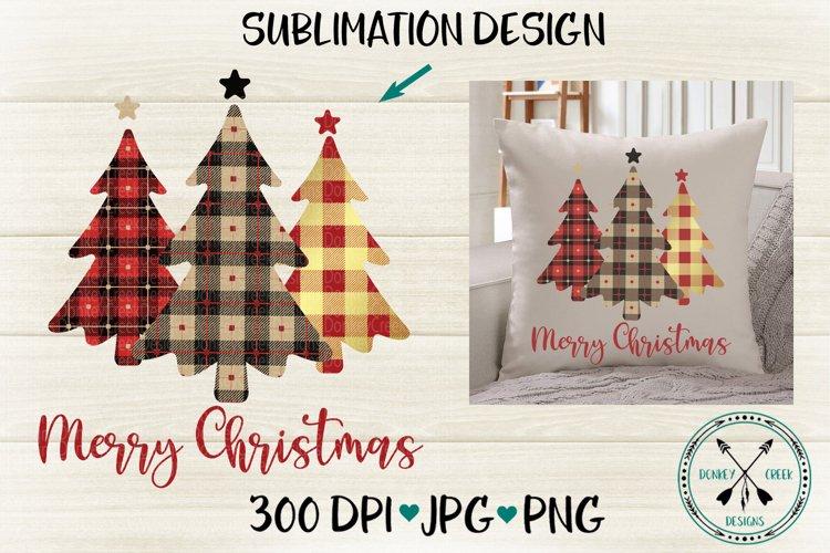 Plaid Christmas Tree Trio Sublimation Design example image 1