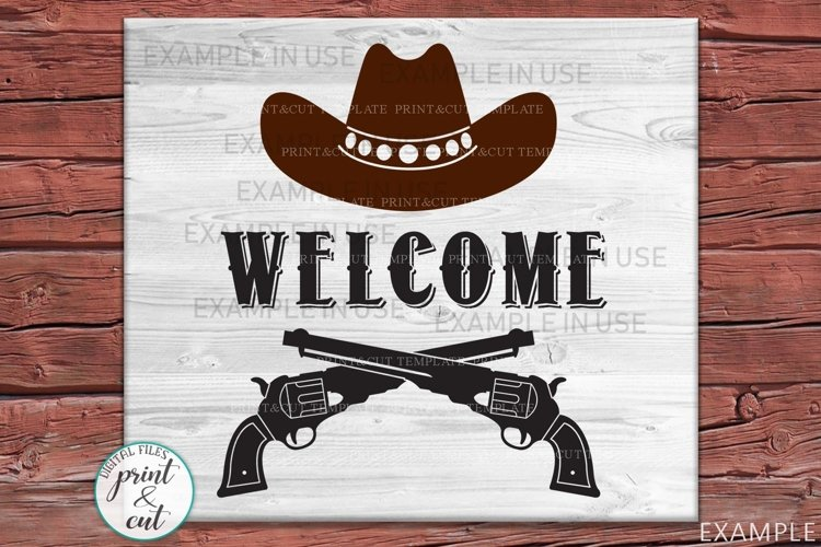 Welcome Cowboy Hunting style porch cottage sign svg dxf cut example image 1