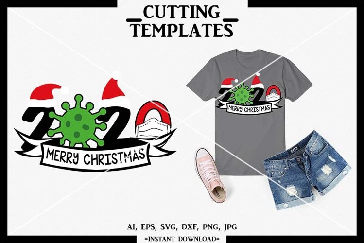 Merry Christmas, Christmas 2020, Silhouette, Cricut, Cameo example image 1