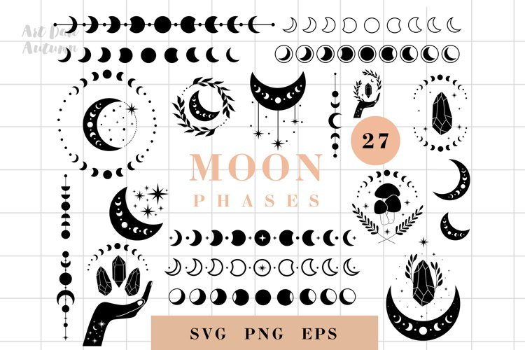 Moon phases svg, Celestial svg, Magic and Mystical svg example image 1