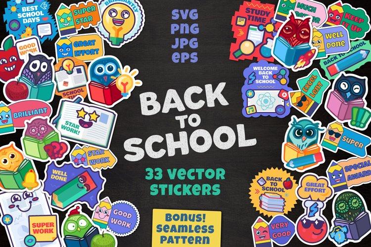 Cartoon School Stickers Set