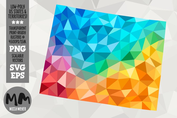 Wyoming state low-poly rainbow for sublimation & print