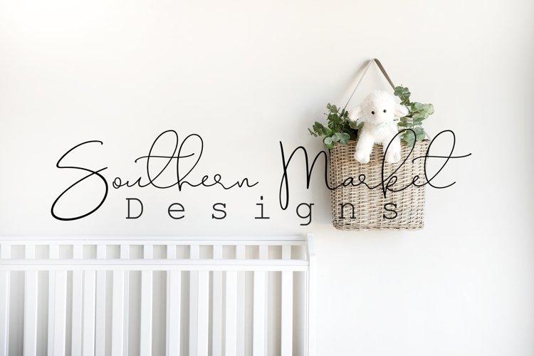 Nursery Blank Wall Sign Mock Up Wood Frame Styled Photograph