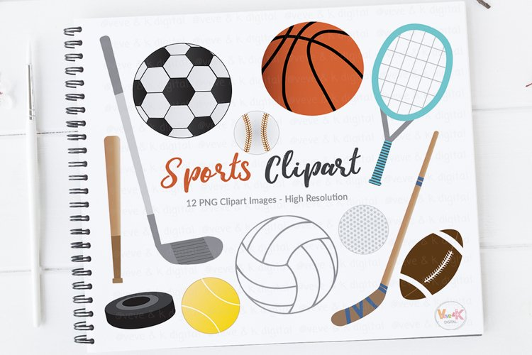 Sports Clipart, Soccer Ball Clipart, Sports Graphics, Sports Equipment Clipart, Digital Clipart, Commercial Use, Basketball Clipart, Soccer