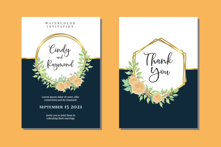 Vintage Floral Wedding Watercolor Invitations Card SVG example image 1