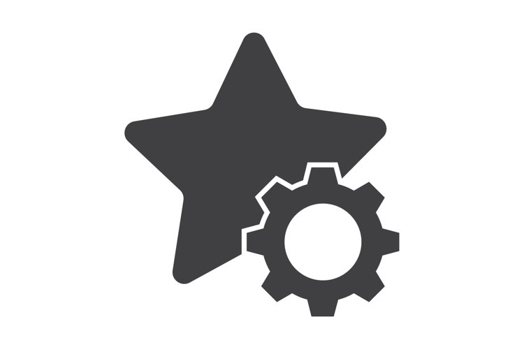 star with setting icon concept. flat design style icon example image 1