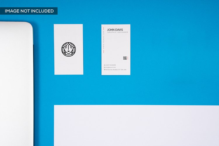 2 Business Card Mockup in Blue example image 1