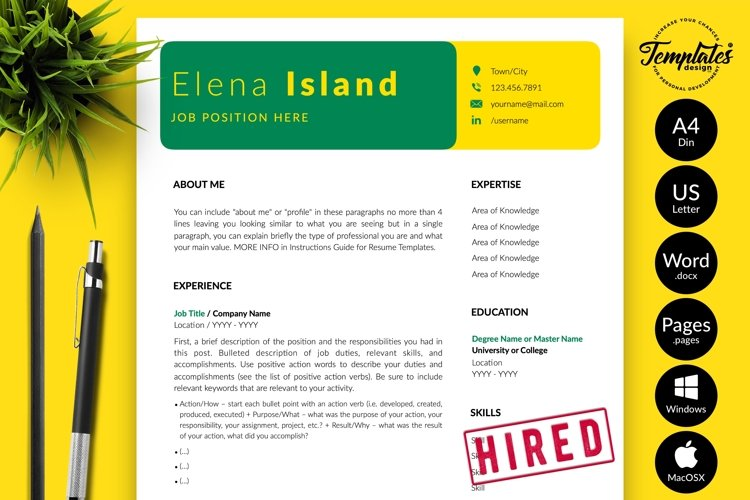 Creative Resume CV Template for Word & Pages Elena Island