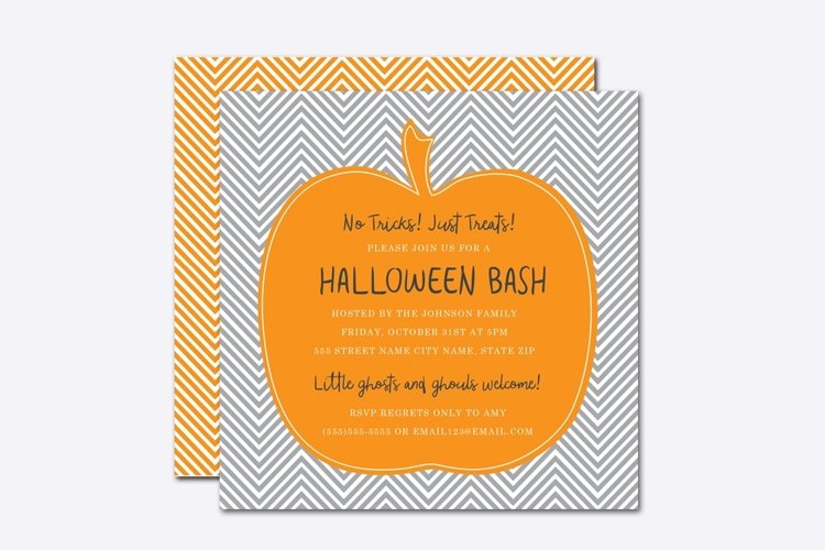 Chevron Pumpkin Halloween Invite Template example image 1
