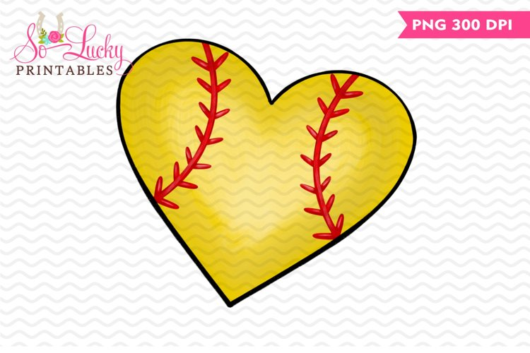 Softball Heart printable sublimation design example image 1