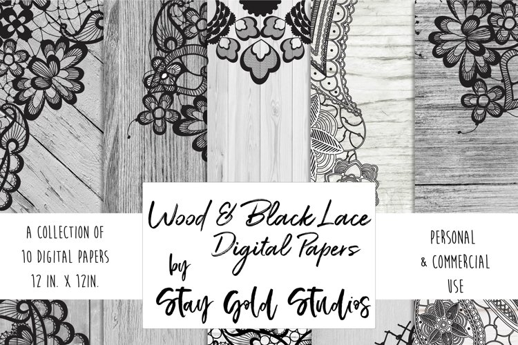 Wood & Black Lace Digital Papers example image 1
