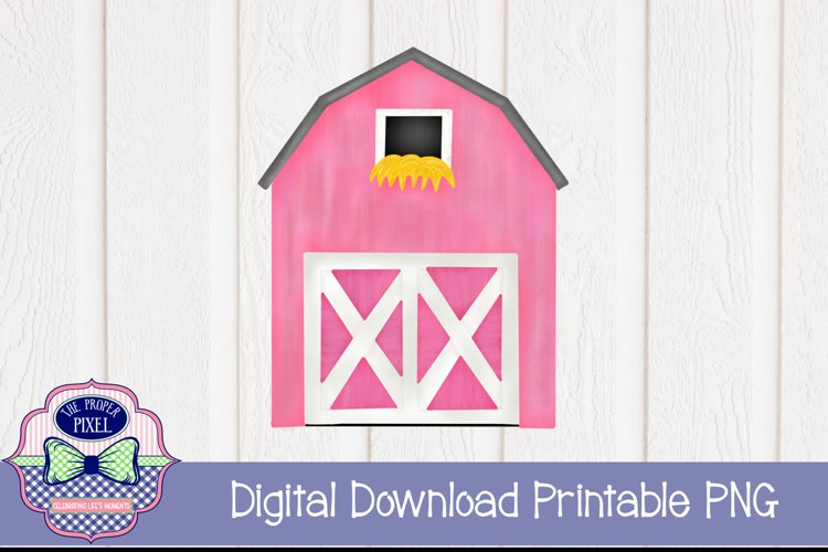 Watercolor Pink Barn example image 1
