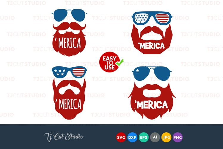 Merica SVG, American flag , Beard svg, 4th of July svg, Memorial Day, Files for Silhouette Cameo or Cricut, Commercial   Personal Use.