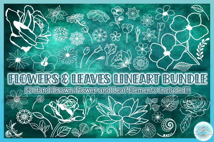 Flower SVG | Flower and Leaf Lineart Bundle | Floral Outline