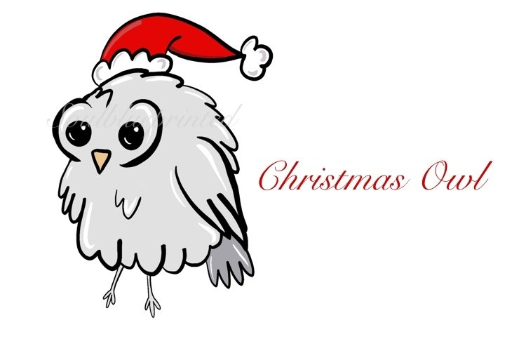 Christmas Owl PNG. Santa Owl. Cute Baby Owl Clipart. example image 1