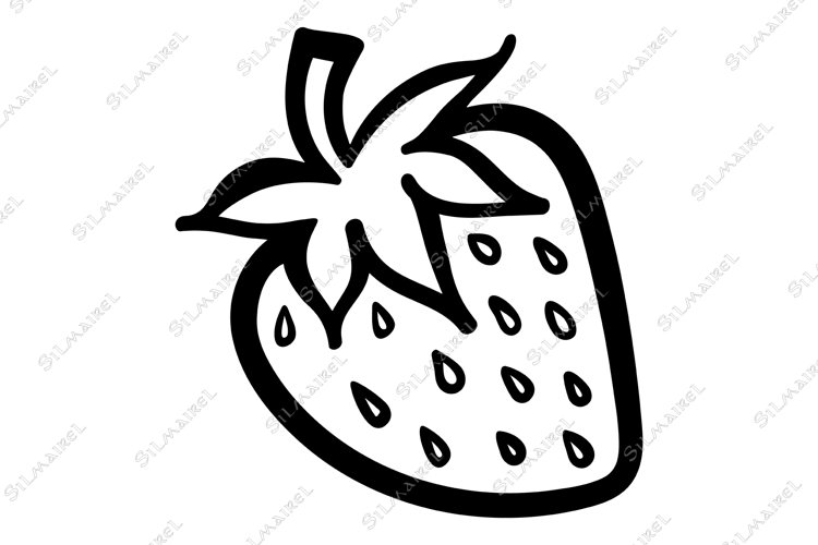 Strawberry berry monochrome isolated sketch line art vector example image 1