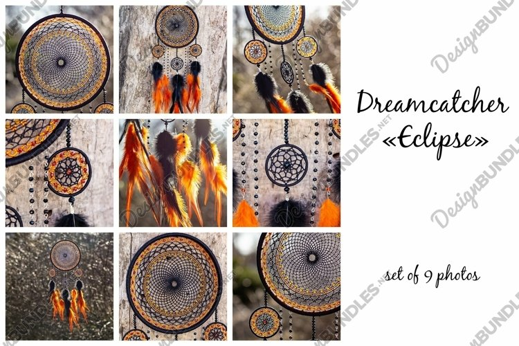 Dream catcher Eclipse with feathers and beads