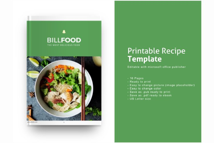 Recipe eBook Template Editable Using Ms Publisher example image 1