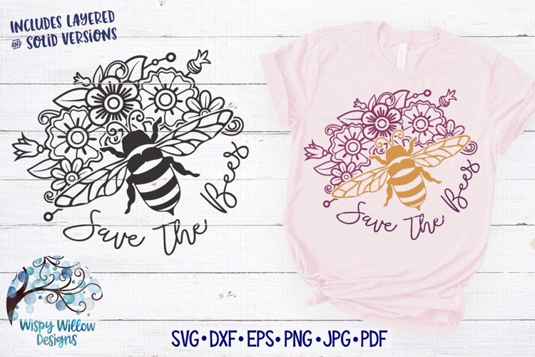Save the Bees Flower Mandala SVG | Bee SVG Cut File