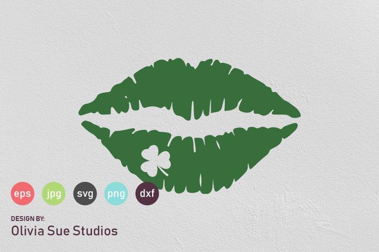 Shamrock Clover Kiss St Patricks Day SVG Cut File example image 1