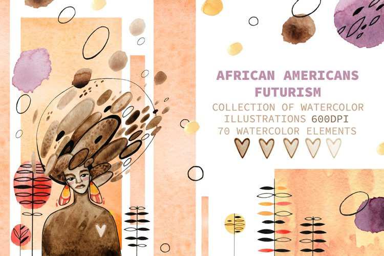 Hand-draw watercolor African Americans Futurism example image 1