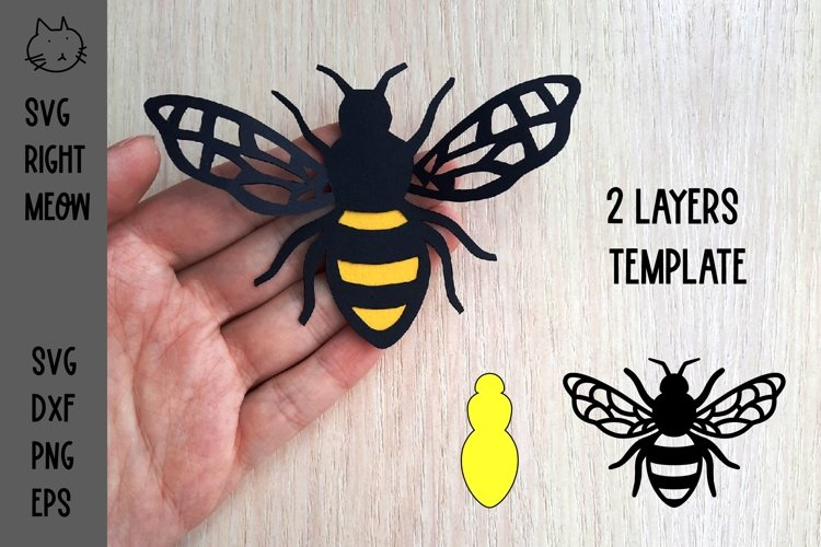 Bee SVG, 3D Layered Bee Paper Cut Template, Bumble Bee SVG