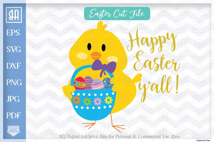 Happy Easter y'all, Easter cuttable file, Easter chick example image 1