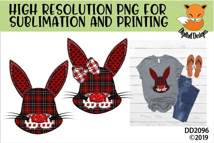 Canadian Country Faux Patchwork Rabbit Sublimation example image 1