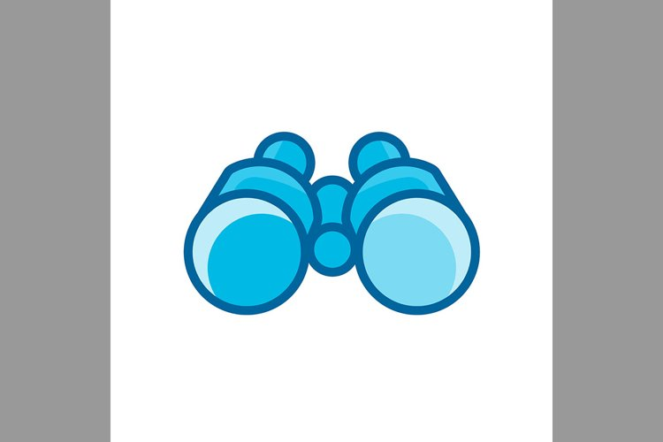 binoculars symbol blue color, Vector Illustration example image 1