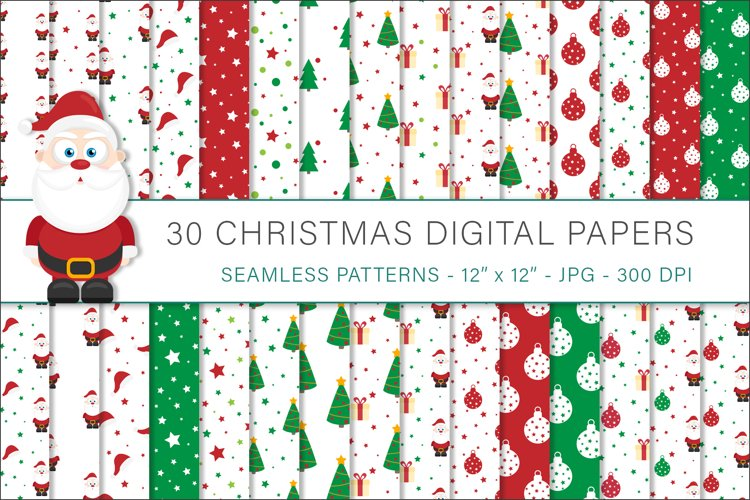 Christmas digital papers, Christmas patterns