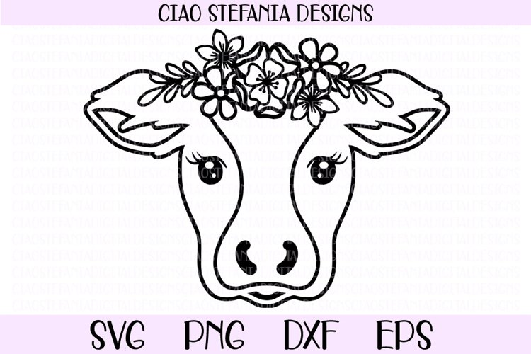 Cow With Flower Crown SVG Cut File example image 1