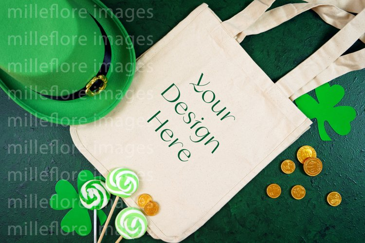 St Patrick's Day Canvas Tote Bag Flatlay SVG Craft Mockup example image 1