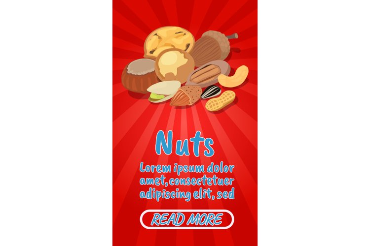 Nuts concept banner, comics isometric style example image 1