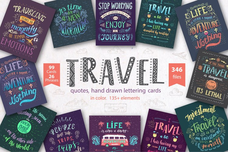Travel. Hand lettering in color. example image 1