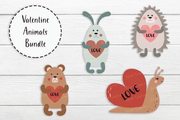 SVG Valentine Baby Animals Bundle. Love heart. Nursery. example image 1