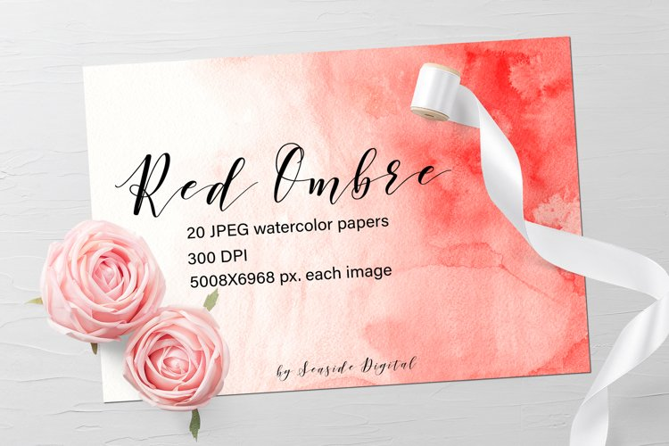 Watercolor Ombre Paper - Red
