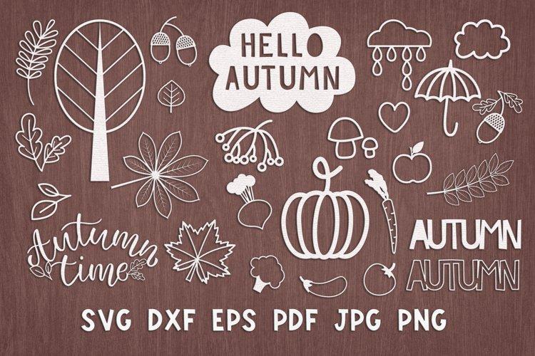 SVG Set of autumn elements for laser cut, Cricut, plotter.