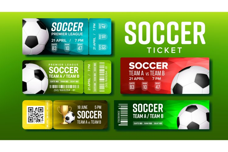 Stylish Tickets For Visit Soccer Match Set Vector example image 1