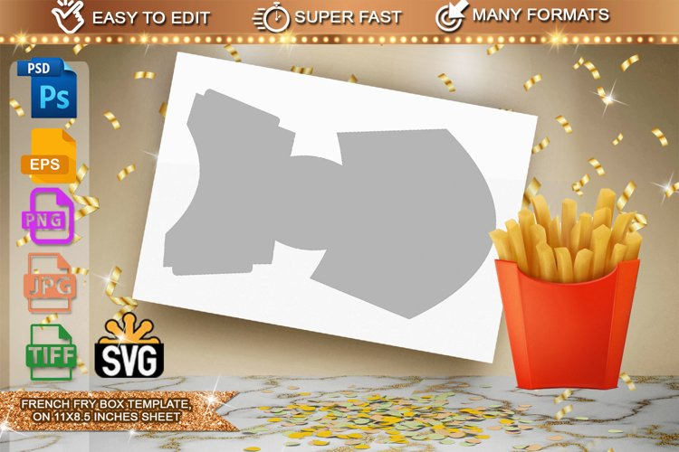 French Fry Box wrapper Template example image 1