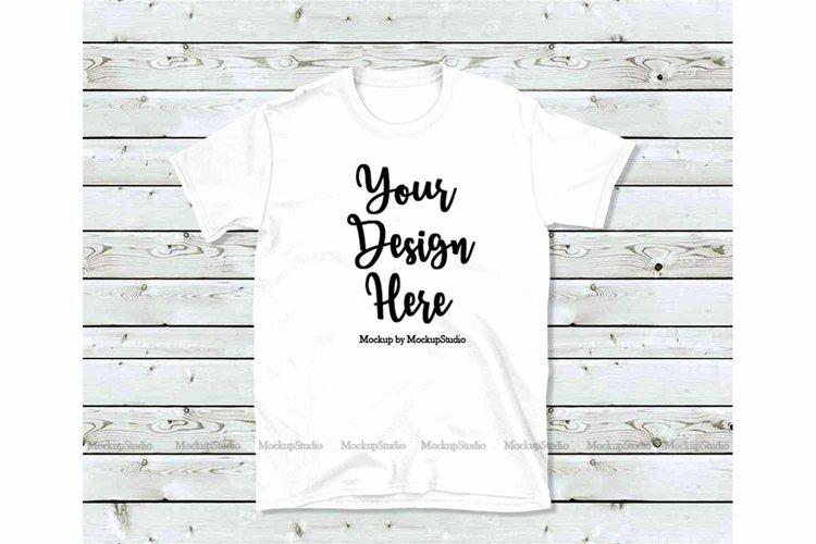 White T-Shirt Mock Up, Unisex Women Youth Gildan Shirt example image 1