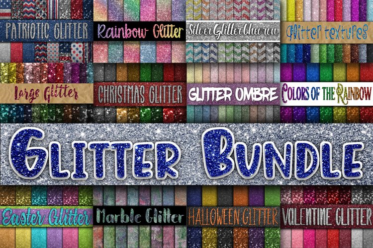 Glitter Bundle - Over 200 Digital Papers - Glitter Textures example image 1