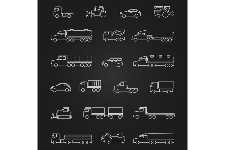 Trucks, cars, machines line icons of set example image 1