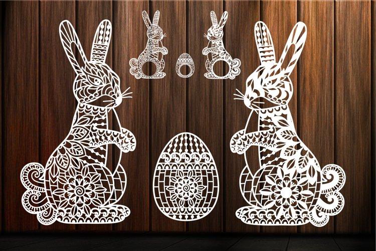Easter Bunny svg Ornate Easter Egg Mandala Zentangle Rabbit example image 1