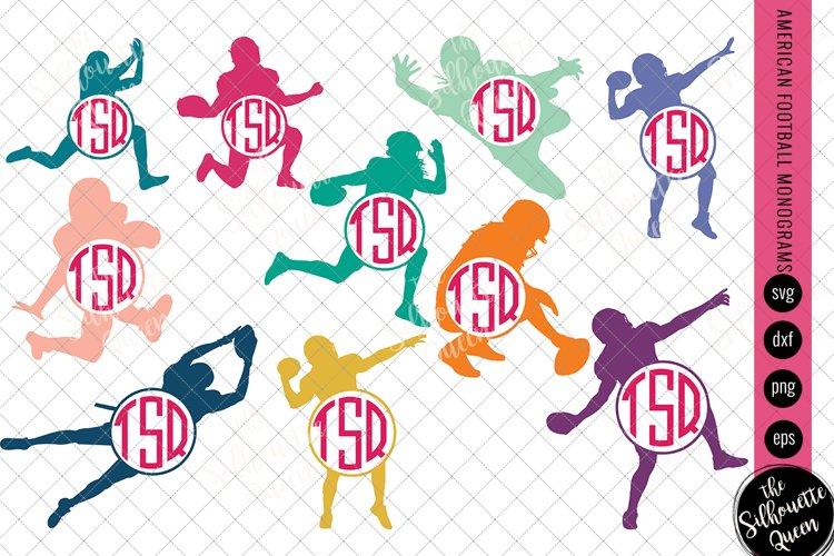 Football Svg Monogram, Circle Frames, Cuttable Design example image 1