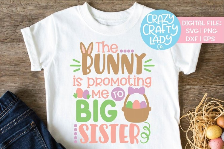 Bunny Is Promoting Me Big Sister SVG DXF EPS PNG Cut File example image 1